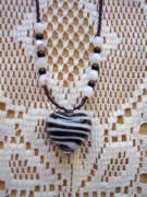 Black And White Jewelry - Black Striped Heart Necklace by Yvette Pichette