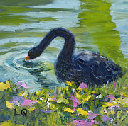 Lori Quarton Art - Black Swan by Lori Quarton