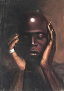 Black Art Pastels Prints - Black Thought Print by L Cooper