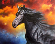 Wild Horse Paintings - Black Thunder by Marina Petro
