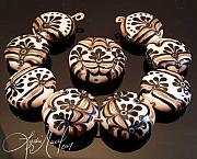 Featured Glass Art - Black Tie Event Lampwork Bead Set by Lydia Muell
