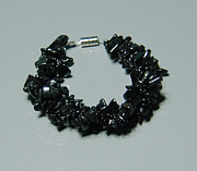 Sterling Silver Bracelet Art - Black Tourmaline Bracelet by Robin Copper