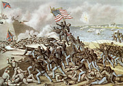 Civil Framed Prints - Black troops of the Fifty Fourth Massachusetts Regiment during the assault of Fort Wagner Framed Print by American School