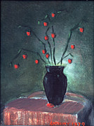 Black Berries Painting Framed Prints - Black Vase With Red Berries Framed Print by Anthony Coviello