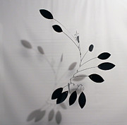 Kinetic Mobile Prints - Black Wave Mobile Sculpture Print by Carolyn Weir