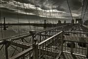 Brooklyn Bridge Pyrography - Black Web... by Arkadiy Bogatyryov