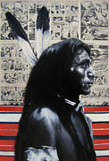Comics Paintings - Black White and Read All Over - Indian Chief by Ryan Jones