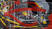 Los Angeles Digital Art Metal Prints - Black White Red And Yellow In The City Metal Print by Eleigh Koonce