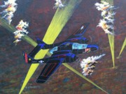 Plane Paintings - Black Widow by Dennis D Vebert