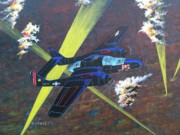 Plane Paintings - Black Widow by Dennis Vebert