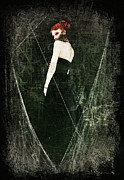 Haunted  Mixed Media - Black Widow II by Spokenin RED