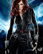 Avengers Painting Originals - Black Widow by Tom Carlton