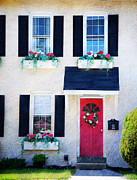 Weathered Shutters Framed Prints - Black Window Shutters with Flowers Framed Print by Paul Ward
