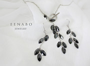 Silver Necklace Art - Black Zircon by Eena Bo