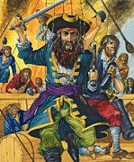 Pirates Painting Posters - Blackbeard Poster by Richard Hook