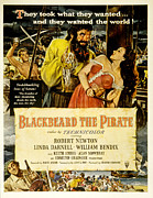 1950s Poster Art Photo Metal Prints - Blackbeard The Pirate, Poster Art Metal Print by Everett