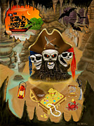 Pirate Ships Digital Art Posters - Blackbeards Haunted Treasure Poster by Glenn Holbrook