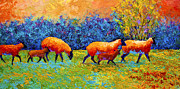 Ewes Prints - Blackberries and Sheep II Print by Marion Rose