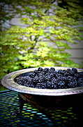 Tatyana Posters - Blackberries In Silver Dish Poster by Tanya  Searcy