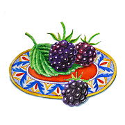 Italian Kitchen Painting Metal Prints - Blackberries Metal Print by Irina Sztukowski