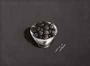 Blackberries White Bowl Print by Valerie R Jackson