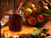 Glass Jar Posters - Blackberry and Apple Jam Poster by Christopher and Amanda Elwell