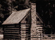 Old Cabins Digital Art Framed Prints - Blackberry Holler Cabin Framed Print by Kris Napier
