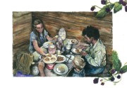 Family Farm Painting Prints - Blackberry Jam Print by Kim Whitton