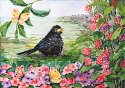 Flycatcher Painting Originals - Blackbird and Raspberries by Phong Trinh