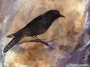Watercolor Photo Metal Prints - Blackbird Metal Print by Carol Leigh