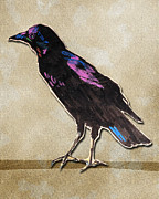 Blackbird Mixed Media Metal Prints - Blackbird Metal Print by Jeanne Hollington
