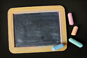 Chalkboard Framed Prints - Blackboard chalk Framed Print by Carlos Caetano