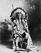 Mid Adult Framed Prints - Blackfoot Chief Framed Print by Hulton Collection