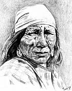 Native Americans Drawings Posters - Blackfoot woman Poster by Toon De Zwart
