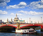 Tourists Framed Prints - Blackfriars Bridge and St. Pauls Cathedral in London Framed Print by Elena Elisseeva