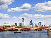 Traffic Tapestries Textiles Prints - Blackfriars Bridge with London skyline Print by Elena Elisseeva