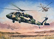 Jets Paintings - Blackhawk Manoevours by Colin Parker