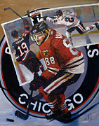 Hockey Art Posters - Blackhawks Poster by Adam Barone