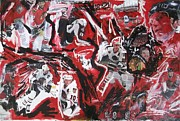 Hockey Mixed Media Metal Prints - Blackhawks mural Metal Print by John Sabey Jr