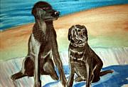 Labs Paintings - BlackLabs by Stanley Morganstein