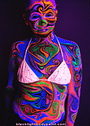Swimsuit Photo Framed Prints - Blacklight Bodypaint Body Art Swimsuit Body Painting Framed Print by Hilary Leigh