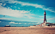 Flying Bird Metal Prints - Blackpool Tower And Pier Metal Print by Michelle McMahon