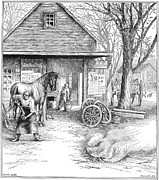 Farrier Framed Prints - Blacksmith, 1885 Framed Print by Granger