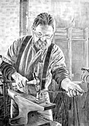 Wildlife Prints Drawings Framed Prints - Blacksmith at Work Framed Print by Maureen  Crofts