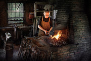 Fire Framed Prints - Blacksmith - Blacksmiths like it hot Framed Print by Mike Savad