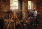 Blue Brick Prints - Blacksmith - Its getting hot in here Print by Mike Savad