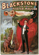 Tricks Painting Framed Prints - Blackstone the Worlds Master Magician Framed Print by Unknown