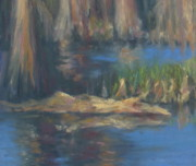 Swamp Pastels Posters - Blackwater Blues Detail Poster by Pamela Poole