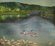 Canadian Geese Paintings - Blairs Valley Lake by Jessica Mason