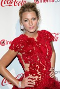 Cap Sleeves Framed Prints - Blake Lively Wearing A Marchesa Dress Framed Print by Everett